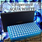 送料無料♪ 開運【L'Esperance 編み込みラウンドファスナー長財布 vivid Aqua White】\レスペランスの最新作!/