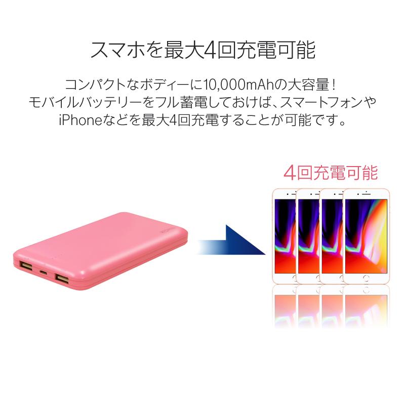 モバイルバッテリー 大容量 軽量 10000mah 送料無料 極薄 iPhone7 Plus アイフォン7 iPhone6 plus iPhone6 iPhone6s plus iPhone5 iPhoneSE スマホ 充電器 薄型 アンドロイド 持ち運び 2.1A 急速充電器 メール便専用