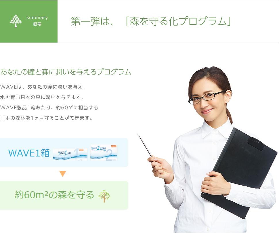 WAVEは、あなたの瞳に潤いを与え、水を育む日本の森に潤いを与えます。