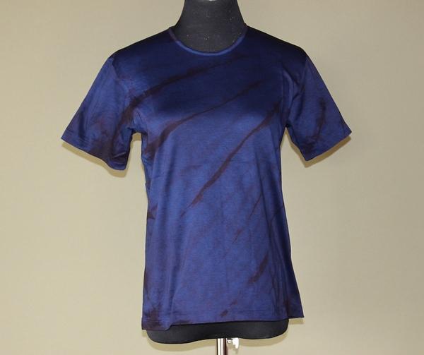 本藍染絞りレディース半袖Tシャツ 藍濃淡