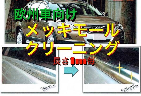欧州車メッキモールクリーニング 施工長さ1m毎