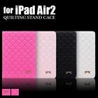 【送料無料】iPadAir2 キルティング リボン付きハート刺繍ケース