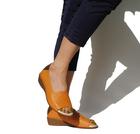 【本革】靴工房JUMBO★柔らかレザーが気持ちいい!かかとが踏めちゃうオープントゥシューズ(7334)