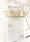 White×gold tiffany lace/スマホケース/iphoneケース/ホワイト/ゴールド/ハードケース/リボン/ビジュー/パール/お花/(iPhone6・iPhone6plus・iPhone6s・iPhone6s plus・iPhone7・iPhone7plus)