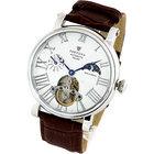 機械式腕時計 メンズ 手巻き 自動巻き 時計 芸術的なテンプスケルトン サン&ムーン サンアンドムーン搭載 カラー:ホワイト