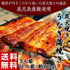 鹿児島県産鰻使用 炭火焼鰻蒲焼「粋」3人前(1人前:約80g)※冷凍201q07595