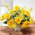 光触媒 光の楽園 招福 イエロー ローズ アート フラワー 造花 黄色 バラ 薔薇 日本製