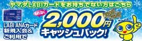 ヤマダLABIカード新規入会 2000円