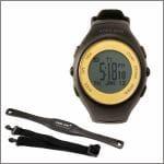 ARES GPS GPS付ランニングウォッチ  12時間モデル  ハートレートモニタ用チェストベルト付きセット  ブラック×チャンピオンゴールド AR-2120