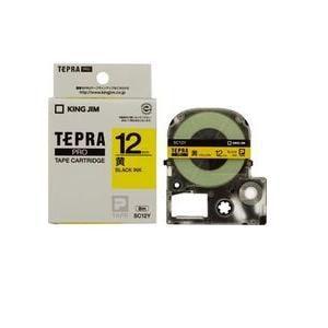 キングジム テプラ カラーラベルテープ(黄テープ/黒文字/12mm幅) SC12Y