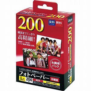 ナカバヤシ Digio インクジェットプリンタ用 フォトペーパー 強光沢/超厚手/印画紙 L判 200枚 ECSKL200G