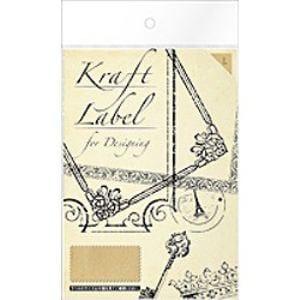 【クリックでお店のこの商品のページへ】エーワン Kraft Label for Designing クラフト紙 はがきサイズ 3面 stamp L 3シート(9片) 08902