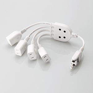 エレコム ACアダプタ用電源延長コード (0.2m /4個口) T-ADR4WHWH