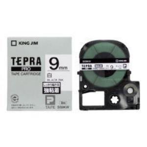 キングジム テプラ 強粘着ラベルテープ (白テープ/黒文字/9mm幅) SS9KW