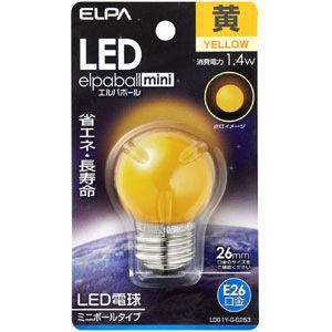 ELPA ELPA LDG1Y-G-G253 「エルパボールミニ」 LED電球 口金E26 イエロー