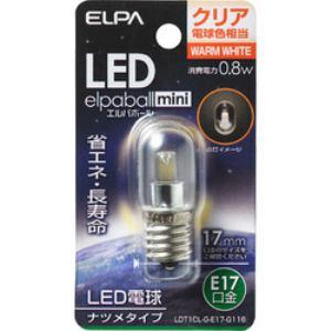 ELPA LDT1CL-G-E17-G116 LEDナツメ球 E17 クリア電球色