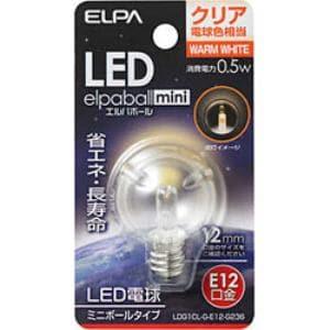 ELPA LDG1CL-G-E12-G236 LED装飾電球 ミニボール球形 E12 G30 クリア電球色