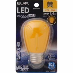 ELPA LED電球サイン球形(黄色・口金E26) LDS1Y-G-G903