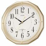 シチズン 4MYA08-018 電波掛け時計 ネムリーナMA08 シャンペンゴールド(白)