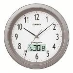 カシオ IC-1010J-8JF 電波時計(壁掛け時計) シルバー アナログタイプ