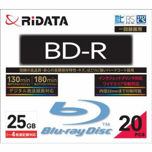 RiDATA BDR130PW4X20PSCC 一回録画用BD-R ワイドプリントレーベルディスク 1~4倍速 25GB 20枚スリムケース