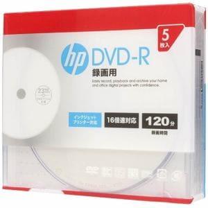 ヒューレットパッカード DR120CHPW5A 録画用DVD-R インクジェットプリンター対応ホワイトワイドレーベル CPRM対応 1-16倍速 4.7GB 5枚
