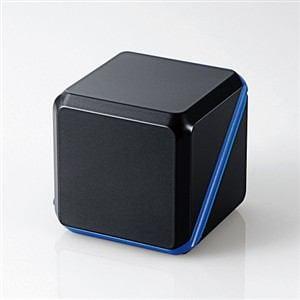 エレコム 3.5φモバイルスピーカー キューブ (メタルブラック×ブルー) ASP-SMP220BBK