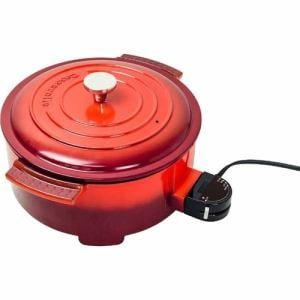 ヤマゼン YGC-800-R 電気グリル鍋 「Casserolle(キャセロール)」 レッド