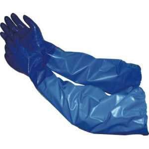 エステー NO660ニトリルモデルブルー腕カバー付手袋M