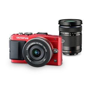 オリンパス デジタル一眼カメラ EZダブルズームキット (レッド) PEN Lite E-PL6