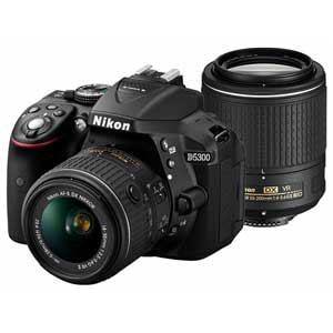 ニコン デジタル一眼カメラ ダブルズームキット2 18-55VR II/55-200VR II II ブラック D5300