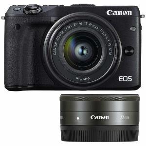 キヤノン ミラーレス一眼カメラ 「EOS M3」ダブルレンズキット2(ブラック) EOSM3BK-WLK2