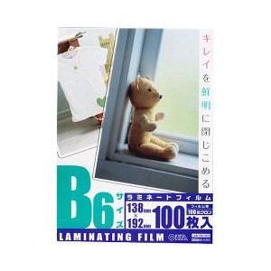 オーム電機 100μラミフィルムB6 100枚 LAM-FB61003