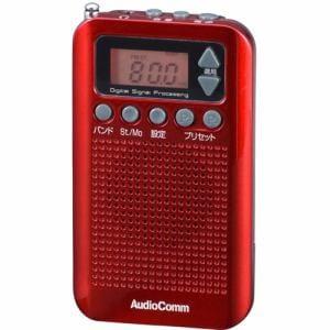 オーム電機 RAD-P350N-R ワイドFM対応 DSPスリムラジオ レッド