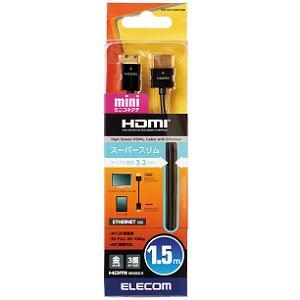 エレコム スーパースリムイーサネット対応HDMIケーブル HDMI(タイプA)-HDMI mini(タイプC) CAC-HD14SSM15BK