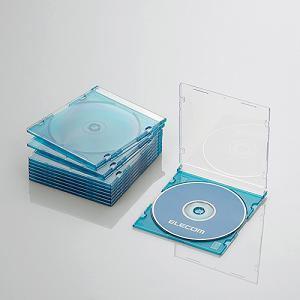 エレコム Blu-ray/DVD/CDケース(スリム/PS/1枚収納) クリアブルー CCD-JSCS10CBU