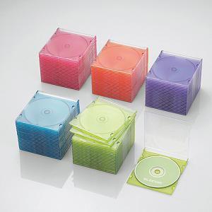 エレコム Blu-ray/DVD/CDケース(スリム/PS/1枚収納) 5色アソート(クリアピンク/クリアオレンジ/クリアグリーン/クリアブルー/クリアパープル