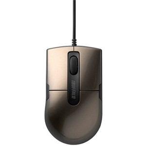 バッファロー 静音 有線BlueLEDマウス 3ボタン Sサイズ ブラウン BSMBU26SSBW