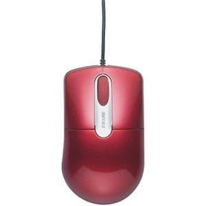 バッファロー 静音 有線光学式マウス 3ボタン Mサイズ レッド BSMOU27SMRD