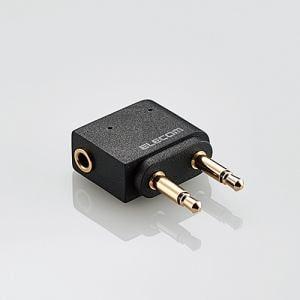 エレコム MPA-T35DSADBK φ3.5mmデュアルジャック変換アダプタ ブラック