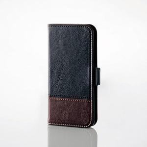 エレコム AVA-T17PLFDTBK iPod touch用ツートンレザー ブラック×ブラウン