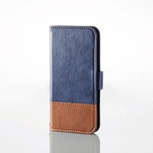 エレコム AVA-T17PLFDTBU iPod touch用ツートンレザー ブルー×ブラウン