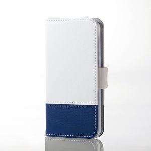 エレコム AVA-T17PLFDTWH iPod touch用ツートンレザー ホワイト×ブルー