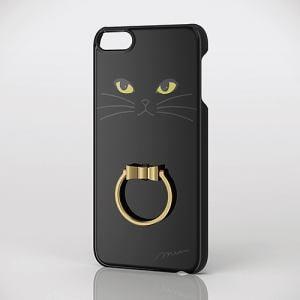 エレコム AVA-T17PVRJBK iPod touch用リング付きデザインケース 黒ネコ