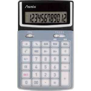 <ヤマダ> (株)アスカ C1216BK Asmix ボタンカバー付カラー電卓 ブラック C1216BK BK画像