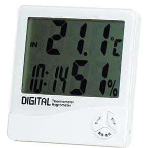エンペックス TD-8140 デジタル温湿度計 時計/カレンダー付き (ホワイト)