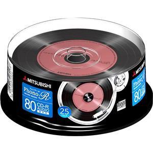 三菱ケミカルメディア MUR80PH25D5 Phono-Rシリーズ CD-R(Audio) Type80 スピンドルケース 25P
