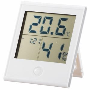オーム電機 TEM-200-W 時計付き温湿度計 ホワイト