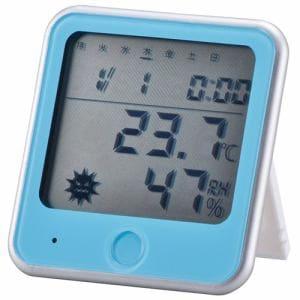 オーム電機 TEM-300-A インフルエンザ熱中症注意機能付き 温湿度計 青