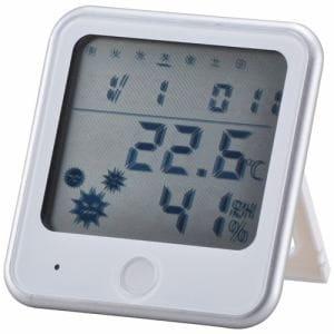 オーム電機 TEM-300-W インフルエンザ熱中症注意機能付き 温湿度計 白